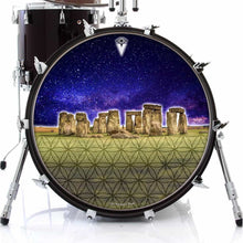 Stonehenge graphic drum skin on bass drum head by Visionary Drum; flower of life drum art