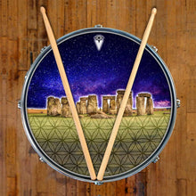 Stonehenge graphic drum skin on snare drum head by Visionary Drum; sacred geometry drum art