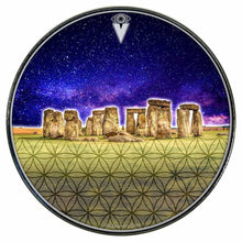Stonehenge graphic drum skin installed on bass drum head by Visionary Drum; night sky drum art
