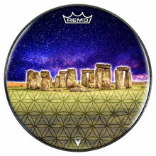 Stonehenge Design Remo-Made Graphic Drum Head by Visionary Drum; ancient ruins drum art