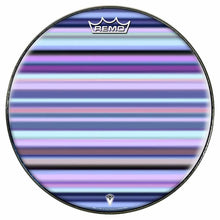 Blue Stripes Design Remo-Made Graphic Drum Head by Visionary Drum; line pattern drum art