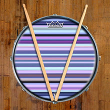 Blue Stripes Design Remo-Made Graphic Drum Head on Snare Drum; blue pattern drum art