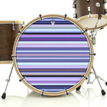 Blue Stripes bass face drum banner installed on drum kit by Visionary Drum; pink drum art