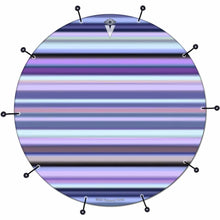 Blue Stripes bass face drum banner by Visionary Drum; line pattern drum art
