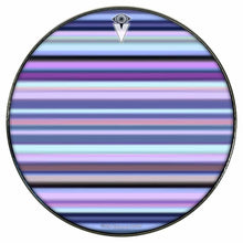 Blue Stripes graphic drum skin installed on bass drum head by Visionary Drum; pink drum art