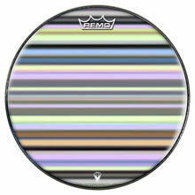 Green Stripes Design Remo-Made Graphic Drum Head by Visionary Drum; striped drum art
