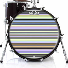 Green Stripes Design Remo-Made Graphic Drum Head on Bass Drum; yellow drum art