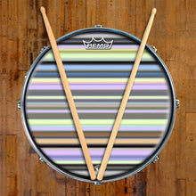 Green Stripes Design Remo-Made Graphic Drum Head on Snare Drum; brown striped drum art