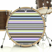 Green Stripes bass face drum banner installed on drum kit by Visionary Drum; yellow drum art