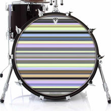 Green Stripes graphic drum skin on bass drum head by Visionary Drum; yellow pattern drum art