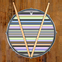 Green Stripes graphic drum skin on snare drum head by Visionary Drum; brown pattern drum art