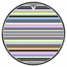 Green Stripes graphic drum skin installed on bass drum head by Visionary Drum; green drum art