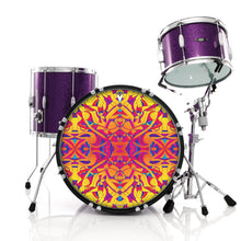 Sun spot brightly colored abstract design drum skin on bass drum