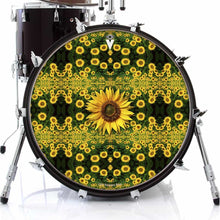 Sunflowers graphic drum skin on bass drum head by Visionary Drum; nature pattern drum art
