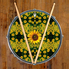 Sunflowers graphic drum skin on snare drum head by Visionary Drum; yellow nature drum art