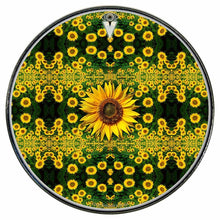 Sunflowers graphic drum skin installed on bass drum head by Visionary Drum; garden drum art
