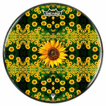 Sunflowers Design Remo-Made Graphic Drum Head by Visionary Drum; yellow flower drum art