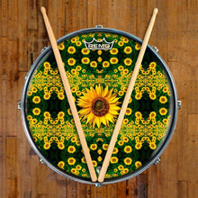 Sunflowers Design Remo-Made Graphic Drum Head on Snare Drum; nature drum art