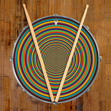 Supertube graphic drum skin on snare drum head by Visionary Drum; circle pattern drum art