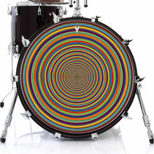 Supertube graphic drum skin on bass drum head by Visionary Drum; geometric drum art