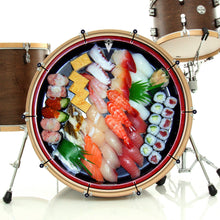 Sushi graphic bass face banner style drum art on bass drum