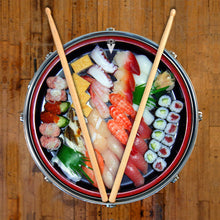 Sushi graphic drum skin on snare drum