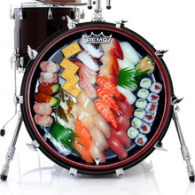 Sushi graphic drum head on bass drum