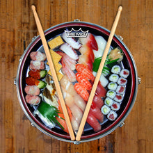 Sushi graphic drum head on snare drum