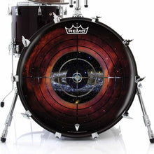 Target Space Design Remo-Made Graphic Drum Head on Bass Drum; black drum art
