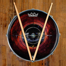Target Space Design Remo-Made Graphic Drum Head on Snare Drum; red drum art