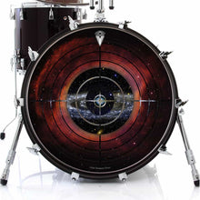 Target Space graphic drum skin on bass drum head by Visionary Drum; abstract drum art