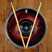 Target Space graphic drum skin on snare drum head by Visionary Drum; mandala drum art