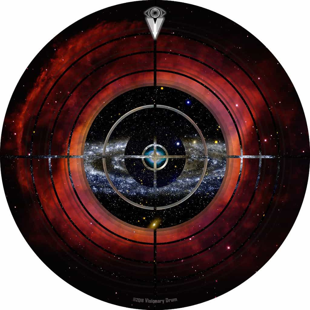 Target Space design graphic drum skin by Visionary Drum; outer space drum art