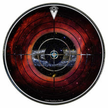 Target Space graphic drum skin installed on bass drum head by Visionary Drum; abstract drum art