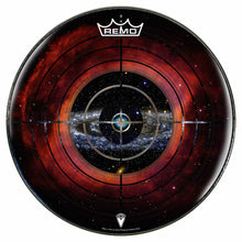 Target Space Design Remo-Made Graphic Drum Head by Visionary Drum; crosshairs drum art