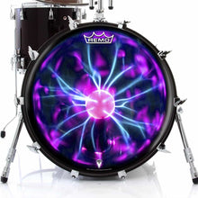 Tesla Coil Design Remo-Made Graphic Drum Head on Bass Drum; electric drum art