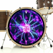 Tesla Coil bass face drum banner installed on drum kit; purple pattern drum art