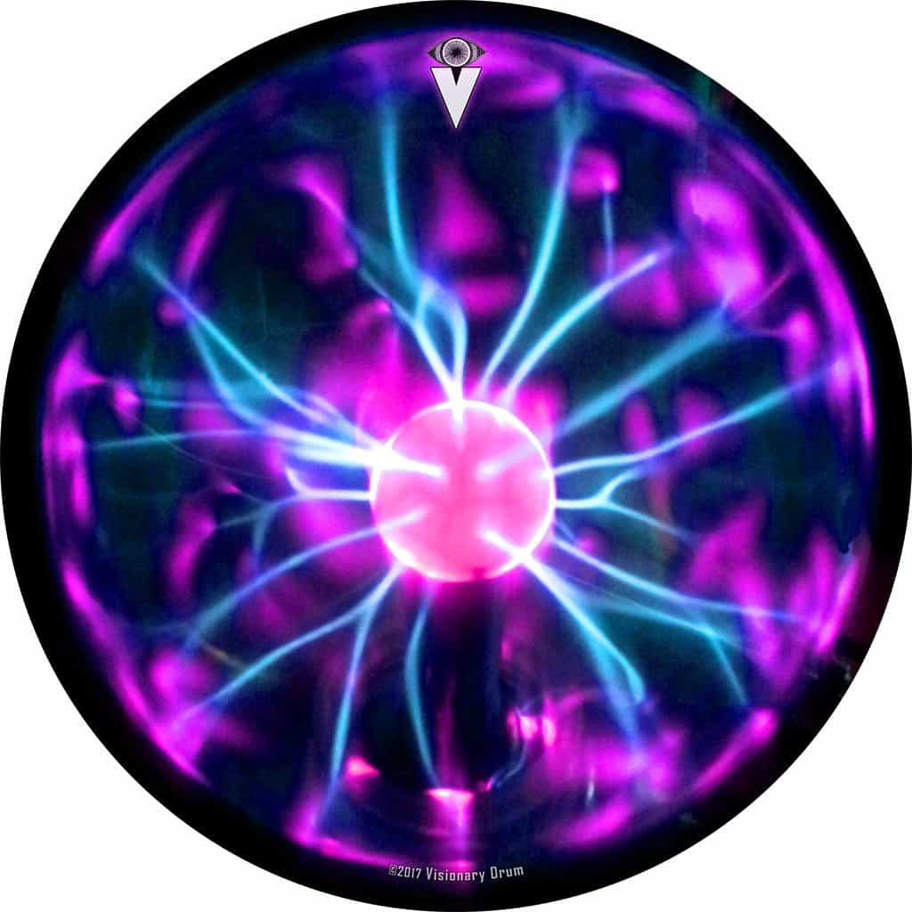 Tesla Coil design graphic drum skin by Visionary Drum; electric drum art