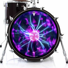 Tesla Coil graphic drum skin on bass drum head by Visionary Drum; psychedelic drum art