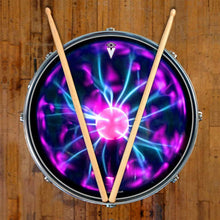 Tesla Coil graphic drum skin on snare drum head by Visionary Drum; abstract pattern drum art