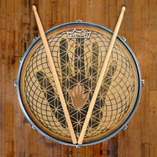 Magical hand Visionary Drum graphic Remo-made drum head on snare drum