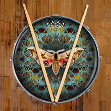 The Moth Design Remo-Made Graphic Drum Head on Snare Drum; insects drum art