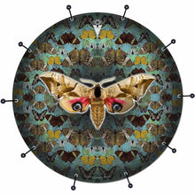 The Moth bass face drum banner by Visionary Drum; aqua pattern drum art