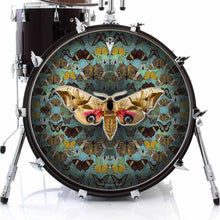 The Moth graphic drum skin on bass drum head by Visionary Drum; butterfly pattern drum art