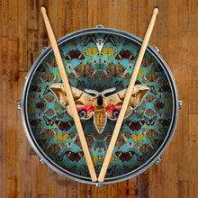 The Moth graphic drum skin on snare drum head by Visionary Drum; mandala drum art