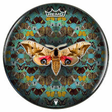 The Moth Design Remo-Made Graphic Drum Head by Visionary Drum; green pattern drum art