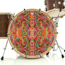 psychedelic, colorful bass face banner on drum