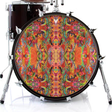 psychedelic, colorful drum skin on black bass drum