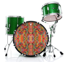 psychedelic, colorful drum skin on bass drum