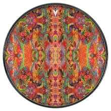 psychedelic, colorful drum skin applied to Remo drum head